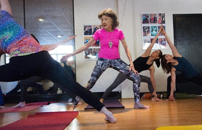 98-year-old Tao Porchon-Lynch has been recognized by Guinness World Records as the world's oldest yoga instructor (AFP Photo/DON EMMERT)