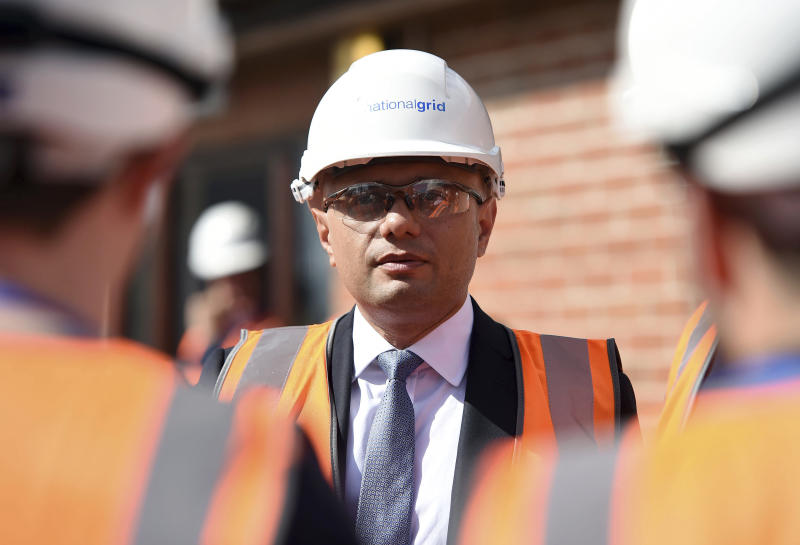 Britain's Chancellor of teh Exchequer Sajid Javid during a visit to the National Grid Training Centre in Newark, England, as the UK announced its GDP second quarter figures, Friday Aug. 9, 2019. Britain's  Office for National Statistics released figures showing the British economy shrank in the second quarter of 2019, as Brexit uncertainties weighed on business investment. ( Joe Giddens/PA via AP)