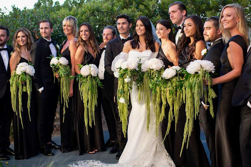 Bridal party in custom gowns by Lexi and Fame and Partners. The men were in Strong Suiting.