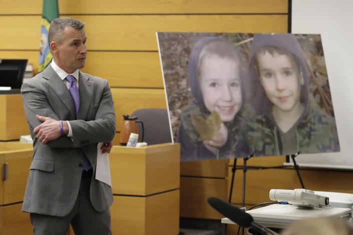 Ted Buck, an attorney for Chuck and Judy Cox, the parents of missing Utah woman Susan Cox Powell and the grandparents of Susan's sons Charlie and Braden, who were attacked and killed by their father Josh Powell in 2012 while he was under suspicion for Susan Powell's disappearance, makes his opening arguments, Tuesday, Feb. 18, 2020, in Pierce County Superior Court in Tacoma, Wash., on the first day of a civil lawsuit over the murder of her young sons by Josh Powell. The Coxes allege that negligence by the Washington state Department of Social and Health Services was a contributing factor that led to the deaths of their grandsons. (AP Photo/Ted S. Warren)