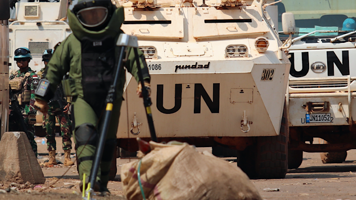 A UN staff member clears mines in the Central African Republic