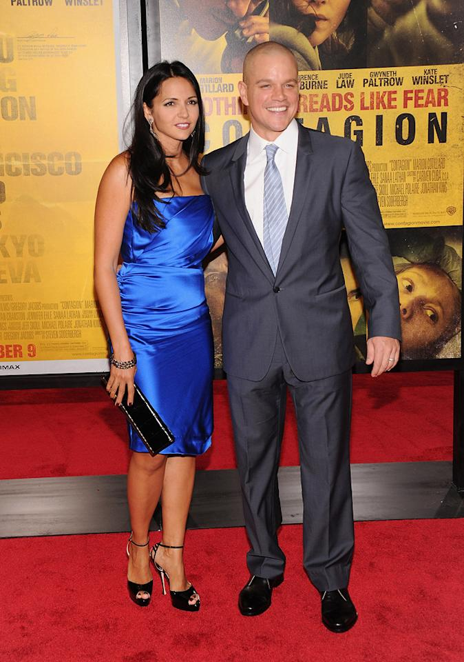 """<a href=""""http://movies.yahoo.com/movie/contributor/1800020155"""">Matt Damon</a> and wife at the New York City premiere of <a href=""""http://movies.yahoo.com/movie/1810161340/info"""">Contagion</a> on September 7, 2011."""
