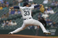 Seattle Mariners starting pitcher Justus Sheffield throws against the Los Angeles Dodgers during the first inning of a baseball game, Monday, April 19, 2021, in Seattle. (AP Photo/Ted S. Warren)