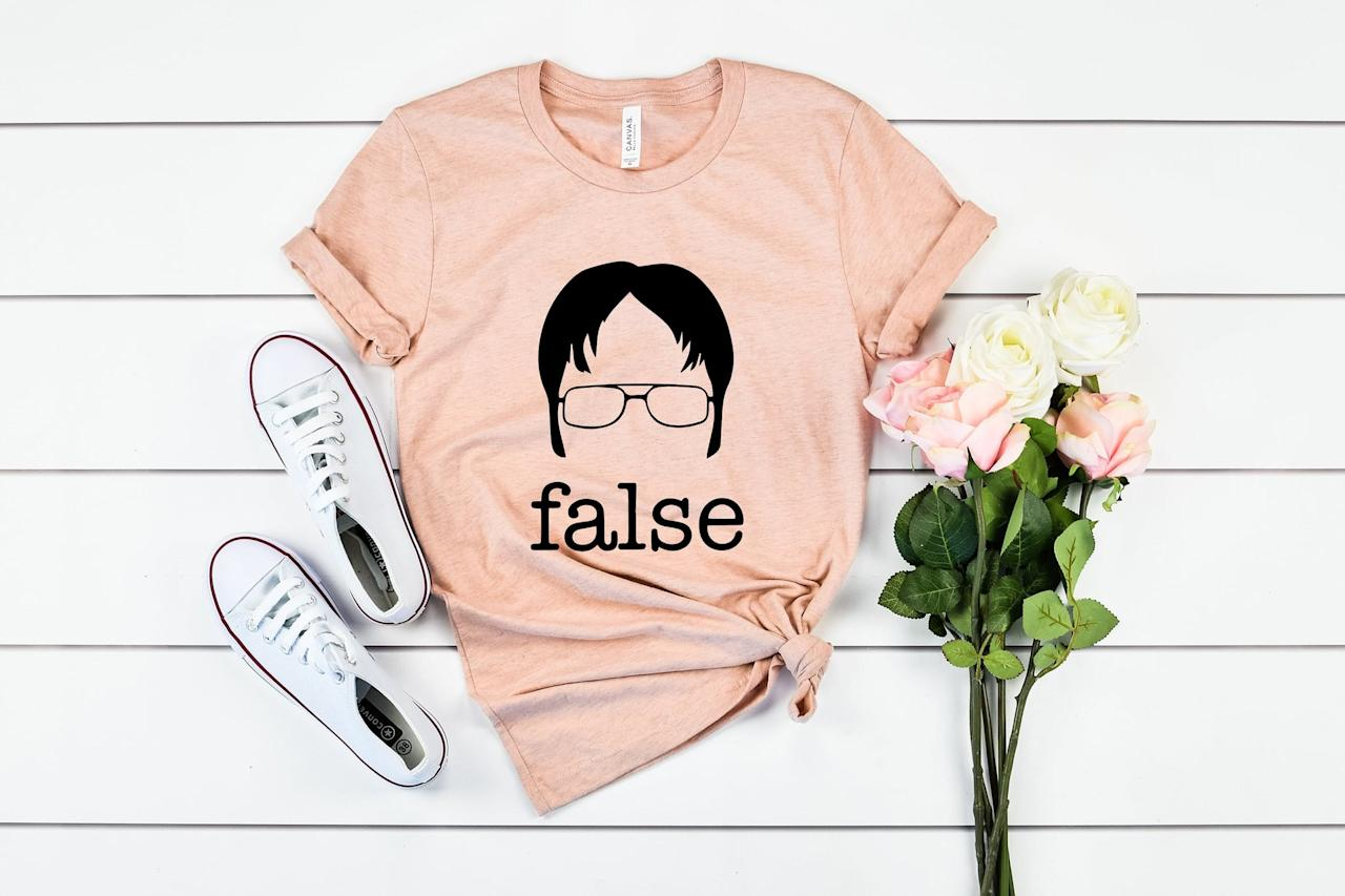 "<p>This <a href=""https://www.etsy.com/listing/747253499/the-office-tv-show-false-shirt-dwight?ga_order=most_relevant&amp;ga_search_type=all&amp;ga_view_type=gallery&amp;ga_search_query=the+office&amp;ref=sr_gallery-1-38&amp;organic_search_click=1&amp;pro=1&amp;col=1"" target=""_blank"" class=""ga-track"" data-ga-category=""Related"" data-ga-label=""https://www.etsy.com/listing/747253499/the-office-tv-show-false-shirt-dwight?ga_order=most_relevant&amp;ga_search_type=all&amp;ga_view_type=gallery&amp;ga_search_query=the+office&amp;ref=sr_gallery-1-38&amp;organic_search_click=1&amp;pro=1&amp;col=1"" data-ga-action=""In-Line Links""><b>The Office</b> TV Show False Shirt</a> ($19) almost makes Dwight Schrute look cute.</p>"