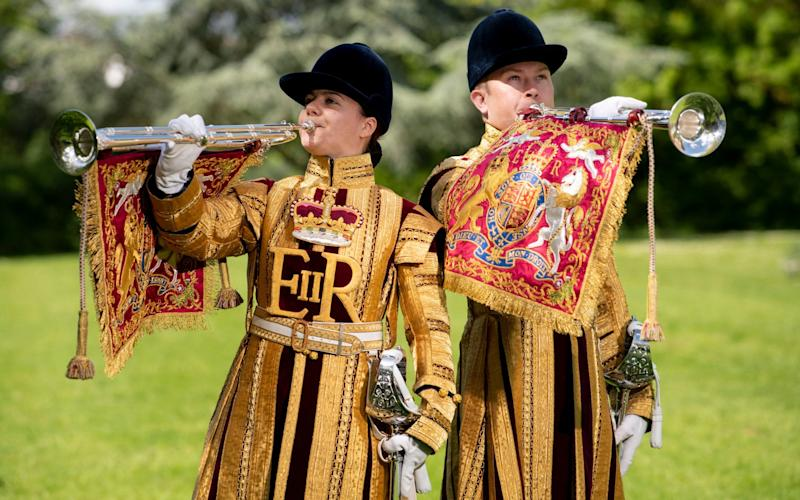 LCpl Kate and LCoH Julian Sandford, two of the six State trumpeters for the Household Cavalry - Geoff Pugh for the Telegraph