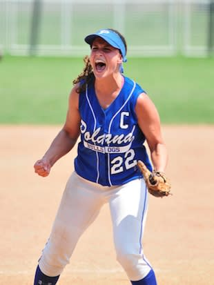 Poland Seminary pitcher Erin Gabriel celebrates a 2011 victory — Flickr