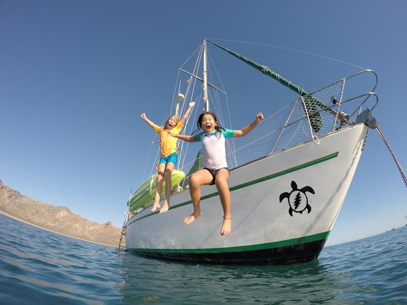 Jessica (left) loves learning about the geography and cultures of the places to which she and her family sails. Emma (right) enjoys swimming, snorkeling and being in the water every day. (Aimee Nance)