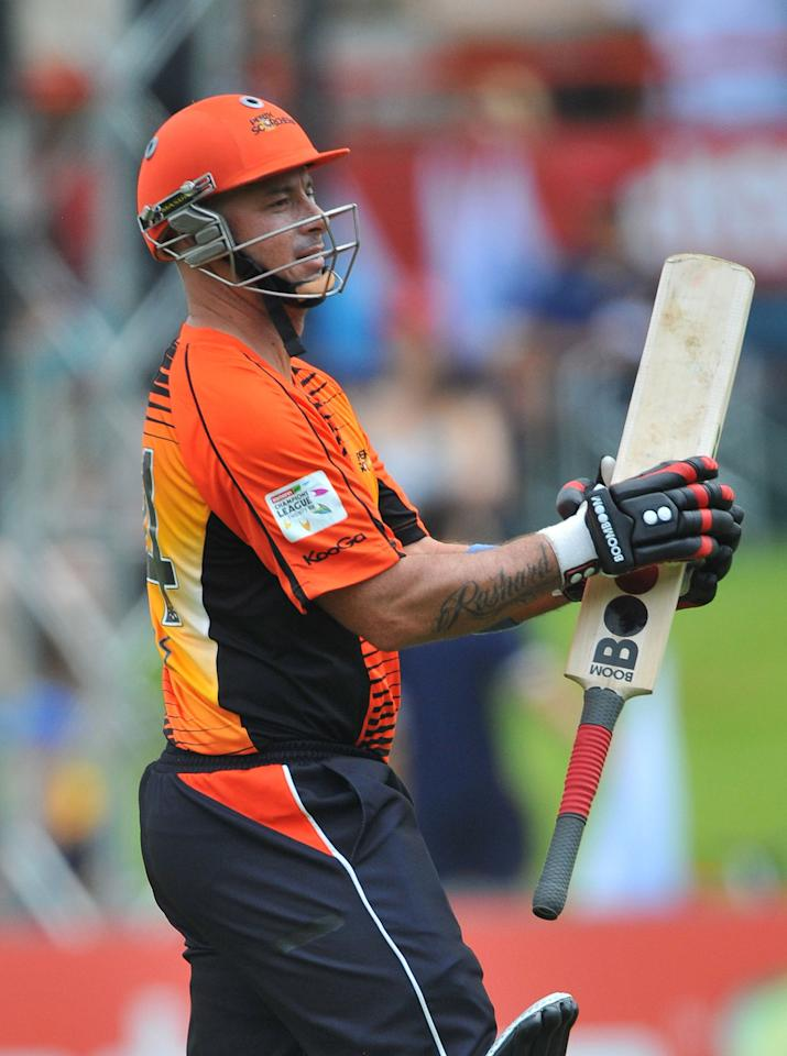 PRETORIA, SOUTH AFRICA - OCTOBER 23:  Herschelle Gibbs of Perth walks off after scoring 6 runs during the Karbonn Smart CLT20 match between Auckland Aces and Perth Scorchers at SuperSport Park on October 23, 2012 in Pretoria, South Africa.  (Photo by Duif du Toit/Gallo Images/Getty Images)