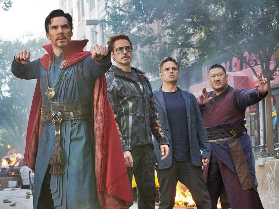 'No other studio is being that inclusive': Ruffalo alongside Benedict Cumberbatch, Robert Downey Jr and Benedict Wong in 'Avengers: Infinity War' (Disney/Marvel)