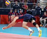 William Priddy #8 of United States dives for the ball in the first set against Serbia during Men's Volleyball on Day 2 of the London 2012 Olympic Games at Earls Court on July 29, 2012 in London, England. (Photo by Elsa/Getty Images)