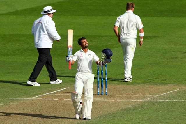 WELLINGTON, NEW ZEALAND - FEBRUARY 15: Ajinkya Rahane of India celebrates his century during day two of the 2nd Test match between New Zealand and India on February 15, 2014 in Wellington, New Zealand. (Photo by Hagen Hopkins/Getty Images)