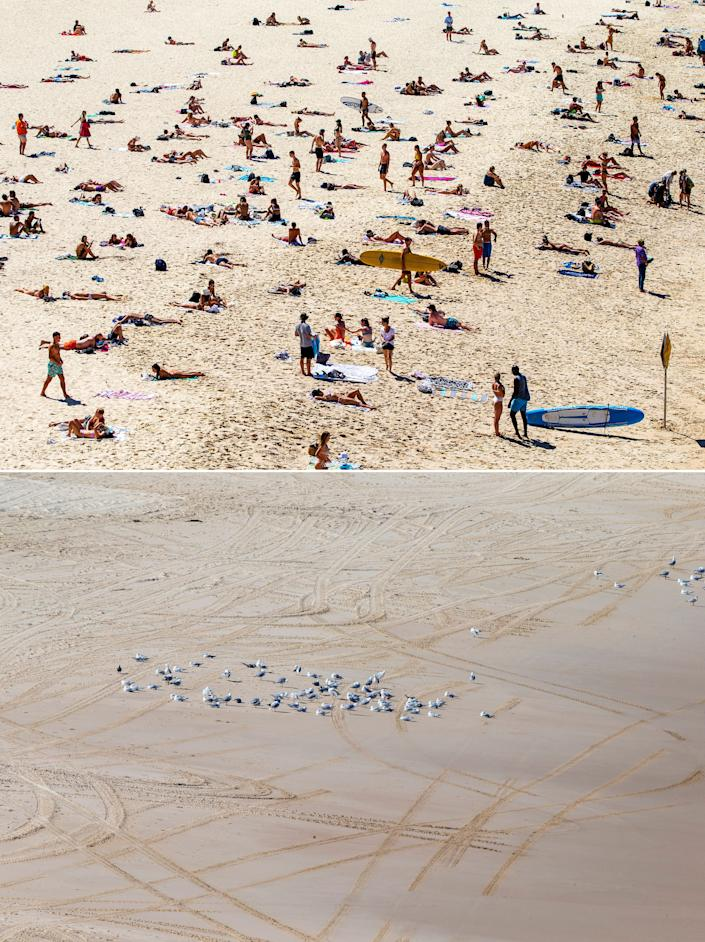 A before-and-after composite image shows Bondi Beach with a large gathering of beachgoers on March 20, 2020 (top) and again on March 22, 2020, after the beach was closed to the public.