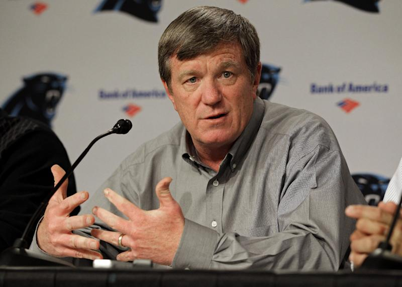 FILE - In this April 19, 2012 file photo, Carolina Panthers general manager Marty Hurney answers a question during a pre-draft news conference for the NFL football team in Charlotte, N.C. The Panthers fired Hurney Monday, Oct. 22, 2012, following the team's 1-5 start this season. (AP Photo/Chuck Burton, File)