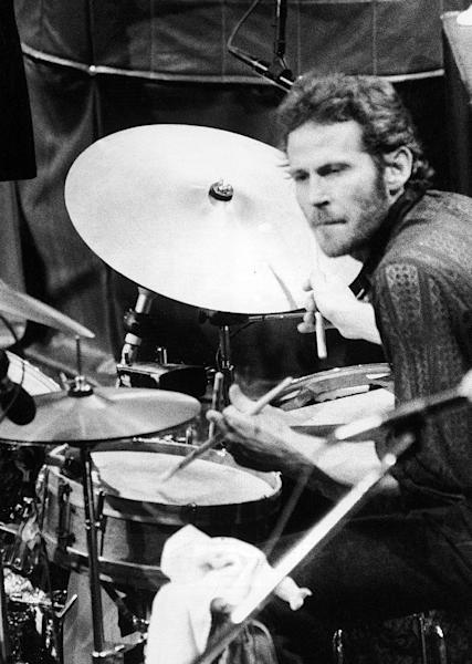 "FILE - In this Nov. 27, 1976 file photo, Levon Helm, of The Band, playes drums at the band's final live performance at Winterland Auditorium in San Francisco. Helm, who was in the final stages of his battle with cancer, died Thursday, April 19, 2012 in New York.  He was 71.  He was a key member of The Band and lent his distinctive Southern voice to classics like ""The Weight"" and ""The Night They Drove Old Dixie Down."" (AP Photo/John Storey, file)"
