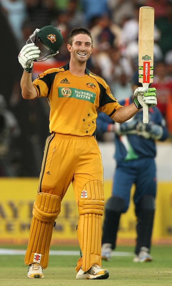 HYDERABAD, INDIA - NOVEMBER 05:  Shaun Marsh of Australia celebrates scoring his century during the fifth One Day International match between India and Australia at Rajiv Gandhi International Cricket Stadium on November 5, 2009 in Hyderabad, India.  (Photo by Mark Kolbe/Getty Images)