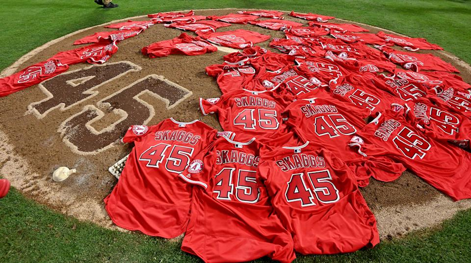 ANAHEIM, CA - JULY 12: Los Angeles Angels placed their jerseys on the mound in honor of Tyler Skaggs as the Los Angeles Angels throw a combined no-hitter and defat the Seattle Mariners 13-0 during a MLB baseball game at Anaheim Stadium on Friday, July 12, 2019 in Anaheim, California. (Photo by Keith Birmingham/MediaNews Group/Pasadena Star-News via Getty Images)