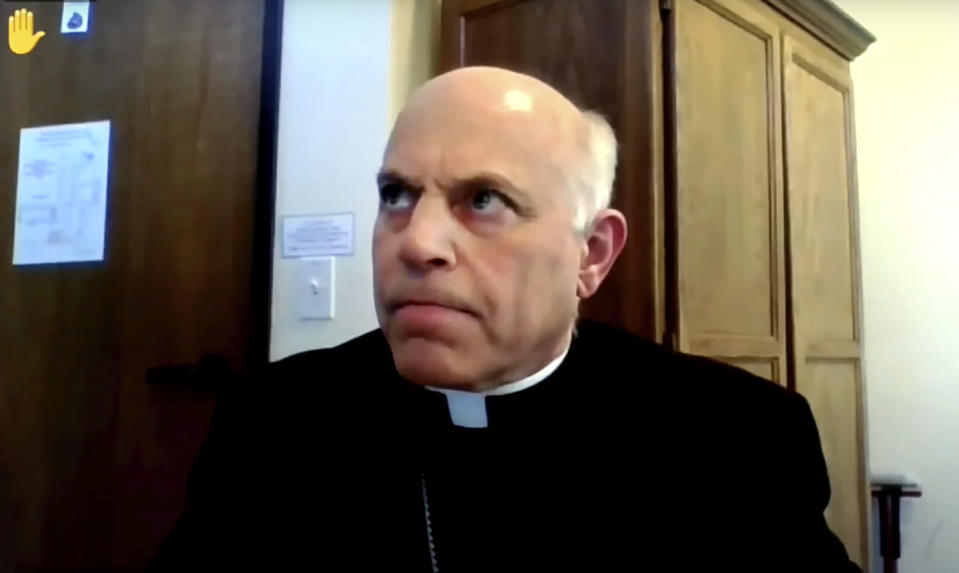 In this image taken from video, the Rev. Salvatore Cordileone, archbishop of San Francisco, rejects an agenda motion during the U.S. Conference of Catholic Bishops' virtual assembly on Wednesday, June 16, 2021. (United States Conference of Catholic Bishops via AP)