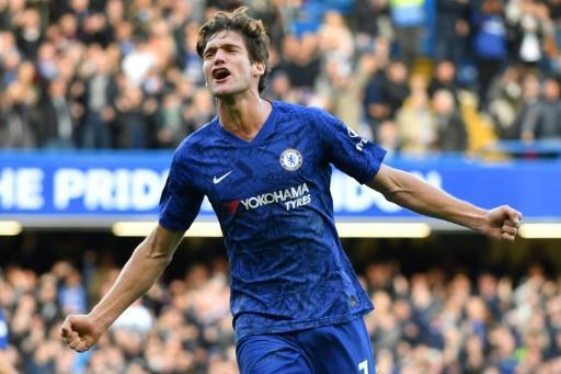 Chelsea defender Marcos Alonso celebrates after scoring against Newcastle