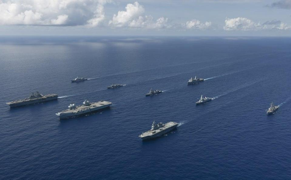The UK Carrier Strike Group's warships led by aircraft carrier HMS Queen Elizabeth (MoD/PA) (PA Media)