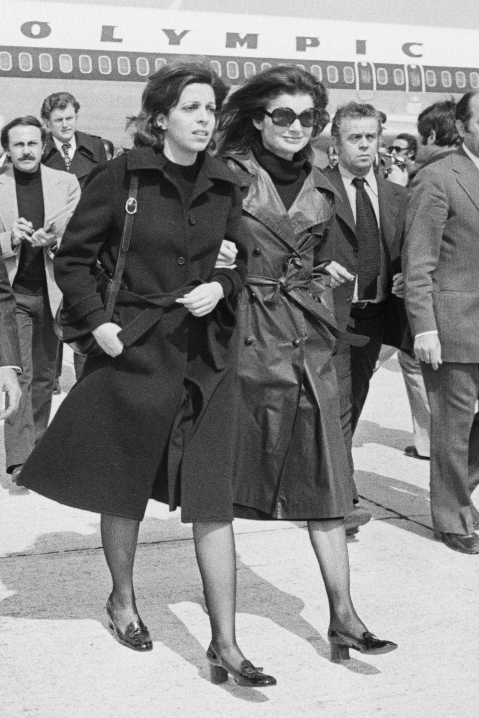 <p>Jackie Onassis and her stepdaughter, Christina, wore these block-heel loafers as they touched down in Greece. Like kitten heels, the block heel had a sensible height but still worked for dressier occasions. </p>
