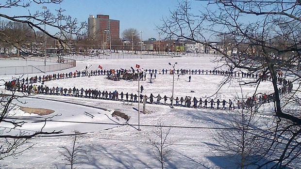 The Idle No More march ended on the Halifax Common with a round dance.
