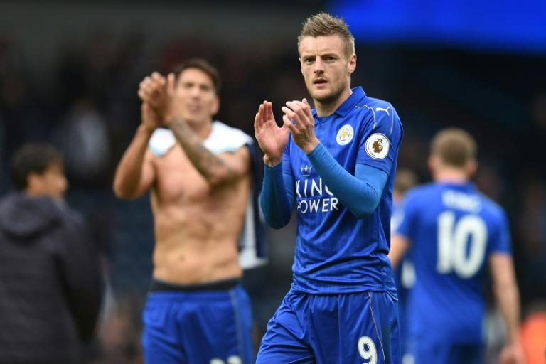 Leicester City's Jamie Vardy applauds supporters after their English Premier League match against West Bromwich Albion, at The Hawthorns stadium in West Bromwich, on April 29, 2017