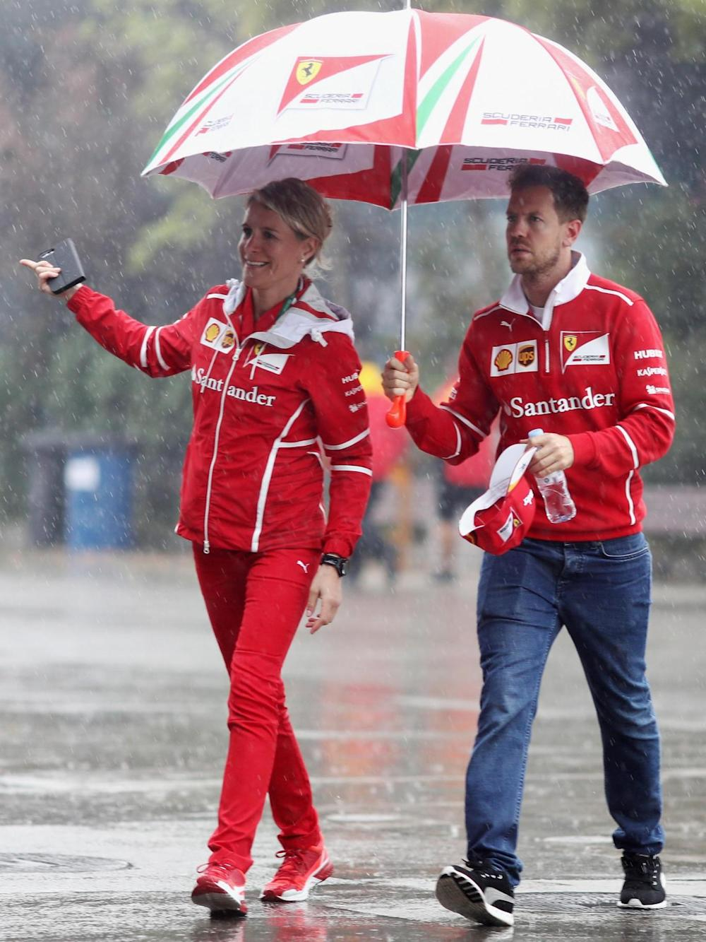 Vettel taking a walk around the track on Thursday (Getty)