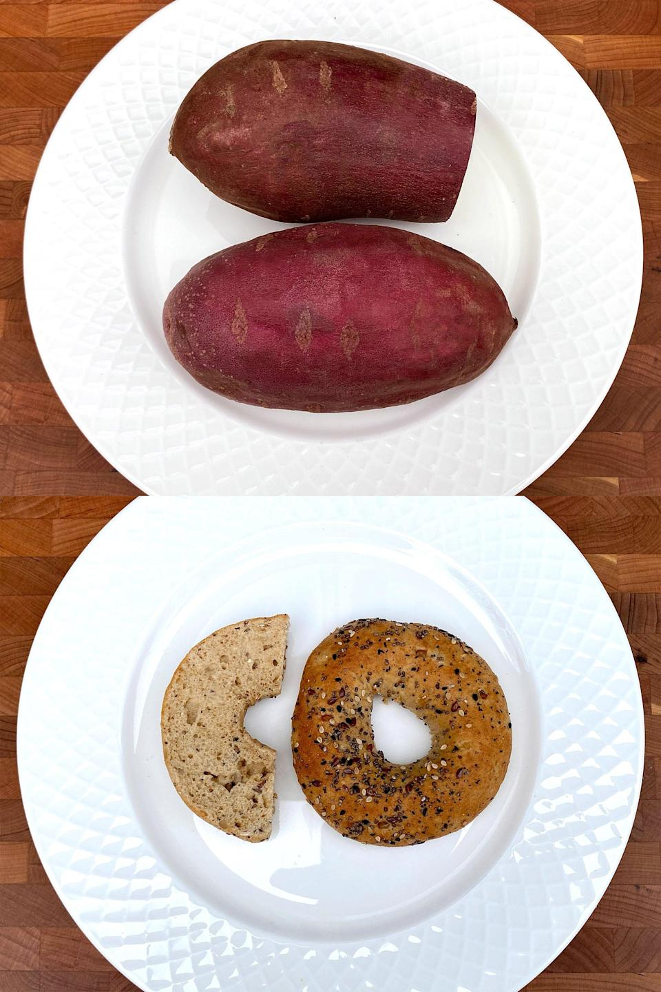 <p>For 200 calories, you can have almost two medium sweet potatoes or only three quarters of a bagel. I don't even think I could eat both those potatoes, but it's easy to eat a whole bagel, and that doesn't include the cream cheese, butter, or egg and cheese you might order to go inside it. See how eating foods low in calorie density allows you to eat more volume for fewer calories?</p>