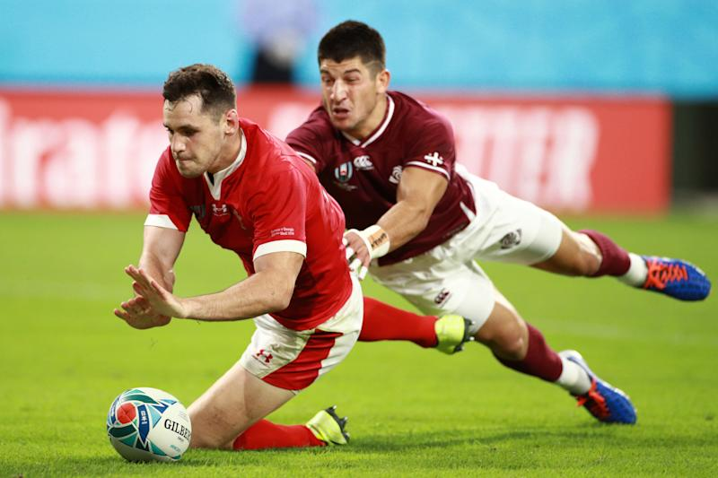 TOYOTA, JAPAN - SEPTEMBER 23: Tomos Williams of Wales scores his sides fifth try during the Rugby World Cup 2019 Group D game between Wales and Georgia at City of Toyota Stadium on September 23, 2019 in Toyota, Aichi, Japan. (Photo by Adam Pretty/Getty Images)