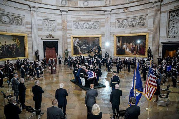 PHOTO: The remains of the late U.S. Capitol Police officer William 'Billy' Evans arrive for a memorial service in the Rotunda at the U.S. Capitol, April 13, 2021, in Washington, DC. (Drew Angerer/Getty Images)