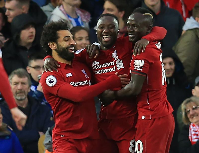 b75dfc8c7 Naby Keita of Liverpool celebrates his opening goal with team mates Mohamed  Salah and Sadio Mane