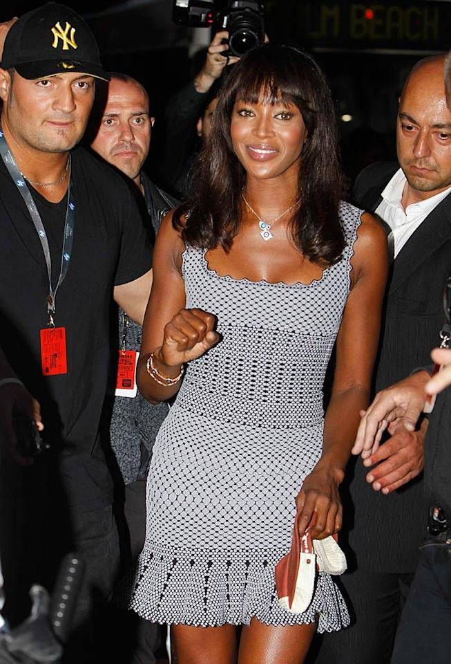 "Hotheaded supermodel Naomi Campbell looked great in her mini when she stepped out with her entourage on Sunday night. Laurent Despois/<a href=""http://www.splashnewsonline.com"" target=""new"">Splash News</a> - May 15, 2011"