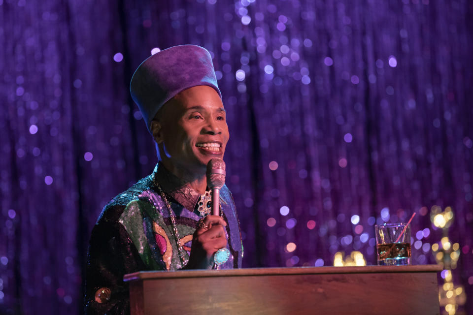 """This image released by FX shows Billy Porter as Pray Tell in a scene from """"Pose."""" Porter was nominated for an Emmy Award for outstanding leading actor in a drama series. (Eric Liebowitz/FX via AP)"""
