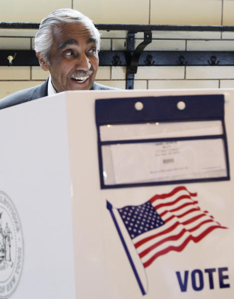 Rep. Charles Rangel, D-N.Y., casts his ballot in the Democratic primary, Tuesday, June 26, 2012 in New York. He faces State Sen. Adriano Espaillat, who would be the first Dominican-American in Congress if he wins the primary and the November general election. (AP Photo/Mark Lennihan)