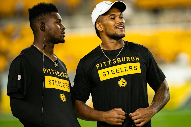 PITTSBURGH, PA - AUGUST 09: Pittsburgh Steelers wide receiver JuJu Smith-Schuster (19) and Pittsburgh Steelers running back James Conner (30) look on during the NFL football game between the Tampa Bay Buccaneers and the Pittsburgh Steelers on August 09, 2019 at Heinz Field in Pittsburgh, PA. (Photo by Mark Alberti/Icon Sportswire via Getty Images)