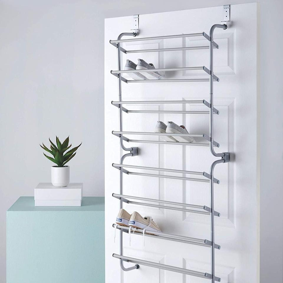 "<p>If you're a sneakerhead, the <a href=""https://www.popsugar.com/buy/Type-Over-Door-Shoe-Rack-580619?p_name=Type%20A%20Over%20the%20Door%20Shoe%20Rack&retailer=amazon.com&pid=580619&price=40&evar1=casa%3Aus&evar9=45752594&evar98=https%3A%2F%2Fwww.popsugar.com%2Fhome%2Fphoto-gallery%2F45752594%2Fimage%2F45753881%2FSneakerheads&list1=amazon%2Caccessories%2Corganization%2Cstorage%20tips%2Chome%20organization&prop13=mobile&pdata=1"" class=""link rapid-noclick-resp"" rel=""nofollow noopener"" target=""_blank"" data-ylk=""slk:Type A Over the Door Shoe Rack"">Type A Over the Door Shoe Rack</a> ($40) is the perfect choice. It holds up to 18 pairs, so you can display your collection and save space at the same time. </p>"