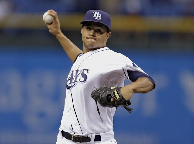 Tampa Bay Rays starting pitcher Chris Archer delivers to Texas Rangers' Elvis Andrus during the first inning of a baseball game Wednesday, Sept. 18, 2013, in St. Petersburg, Fla. (AP Photo/Chris O'Meara)