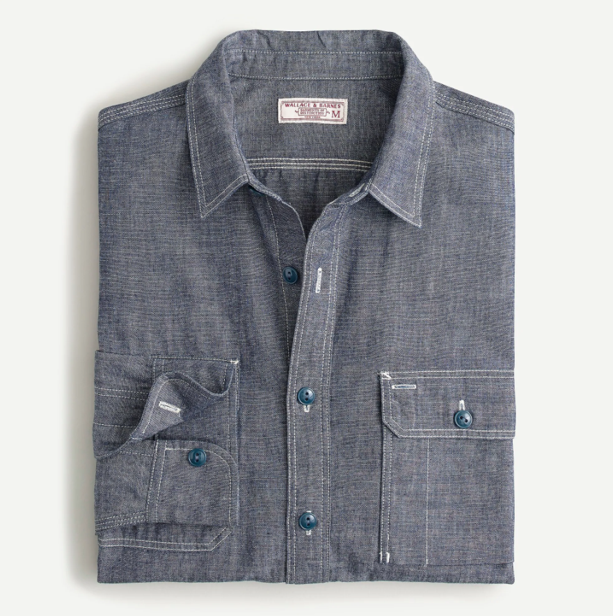 """<p><strong>J.CREW</strong></p><p>jcrew.com</p><p><strong>$138.00</strong></p><p><a href=""""https://go.redirectingat.com?id=74968X1596630&url=https%3A%2F%2Fwww.jcrew.com%2Fp%2FAQ175&sref=https%3A%2F%2Fwww.esquire.com%2Fstyle%2Fmens-fashion%2Fg34385982%2Ffall-wardrobe-essentials%2F"""" rel=""""nofollow noopener"""" target=""""_blank"""" data-ylk=""""slk:Shop Now"""" class=""""link rapid-noclick-resp"""">Shop Now</a></p><p>A rugged overshirt (or workshirt) might be less obvious than a sweater, but is equally essential to a smart fall wardrobe. This selvedge chambray option, complete with two button pockets and double-needle topstitching, is the ultimate layering piece. It's weighty enough to be worn as a top layer on those still-warm days when the first chill is in the air. A few weeks later, just throw a fleece or denim jacket over it and you're set until puffer season. </p>"""