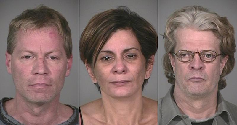 This combo made from photos provided by the Indianapolis Metropolitan Police Department shows from left, Mark Leonard, his girlfriend Monserrate Shirley, and his brother, Bob Leonard, all of Indianapolis, who were arrested Friday, Dec. 21, 2012 and charged with murder, arson and other counts in a Nov. 10 gas explosion that killed two people.  Authorities say the explosion in the Richmond hill subdivision in Indianapolis was deliberately set up so the three could collect a big insurance payout. (AP Photo/Indianapolis Metropolitan Police Department)