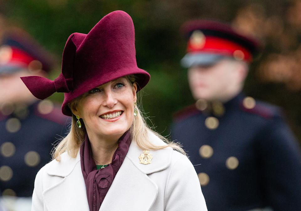TWICKENHAM, ENGLAND - DECEMBER 10:  Sophie, Countess of Wessex  visits the Corps of Army Music for a renaming ceremony and short parade at Kneller Hall on December 10, 2020 in Twickenham, England. The Countess of Wessex is Colonel in Chief of the regiment.  (Photo by Pool/Samir Hussein/Getty Images)