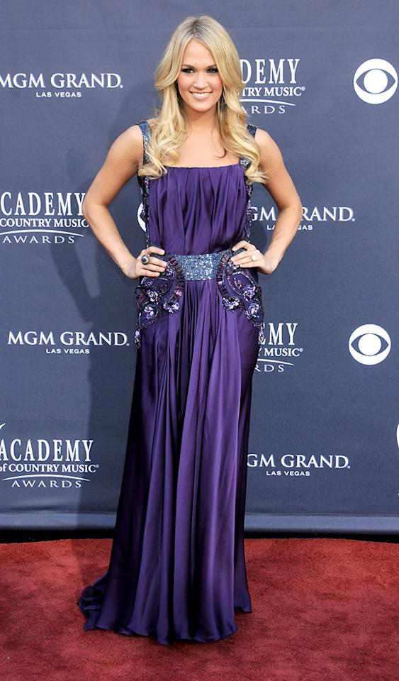 LAS VEGAS, NV - APRIL 3: Singer Carrie Underwood arrives at the 46th Academy of Country Music Awards held at the MGM Grand Garden Arena at the MGM Grand Hotel & Casino, April 3, 2011 in Las Vegas, Nevada. (Photo by Gregg DeGuire/PictureGroup)