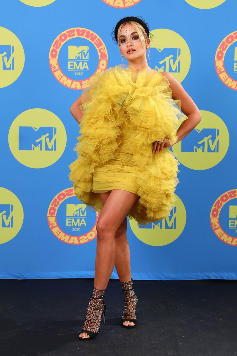 <p><strong>1 November </strong>Rita Ora turned heads at the MTV EMA awards in a yellow tulle mini-dress . </p>