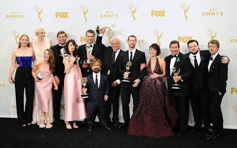 LOS ANGELES, CA - SEPTEMBER 20: Actors Sophie Turner, Gwendoline Christie, Maisie Williams, Nikolaj Coster-Waldau, Carice van Houten, writer David Benioff, actor Peter Dinklage, Conleth Hill, writer D. B. Weiss, Lena Headey, director David Nutter and actors John Bradley-West and Alfie Allen, winners of Outstanding Drama Series for 'Game of Thrones' pose in the press room at the 67th annual Primetime Emmy Awards at Microsoft Theater on September 20, 2015 in Los Angeles, California. (Photo by Jason LaVeris/FilmMagic)