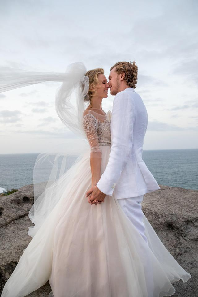 "<h1 class=""title"">Barron Hilton and Tessa von Walderdorff Wedding, bride and groom</h1> <cite class=""credit"">Photo by Jenny Gorman</cite>"