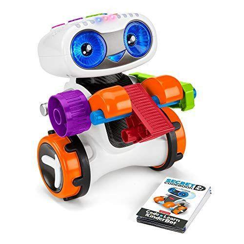 "<p><strong>Fisher-Price</strong></p><p>amazon.com</p><p><strong>$59.99</strong></p><p><a href=""https://www.amazon.com/dp/B07MFRD29W?tag=syn-yahoo-20&ascsubtag=%5Bartid%7C10055.g.4695%5Bsrc%7Cyahoo-us"" rel=""nofollow noopener"" target=""_blank"" data-ylk=""slk:Shop Now"" class=""link rapid-noclick-resp"">Shop Now</a></p><p>Not only does Kinderbot teach him about shapes and colors, he also <strong>teaches your little one basic coding</strong> through fun button patterns.<br></p>"
