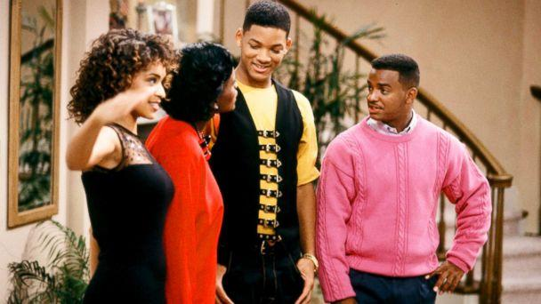 PHOTO: Karyn Parsons as Hilary Banks, Janet Hubert as Vivian Banks, Will Smith as William 'Will' Smith and Alfonso Ribeiro as Carlton Banks in a scene from 'The Fresh Prince of Bel-Air.' (NBC via Getty Images)