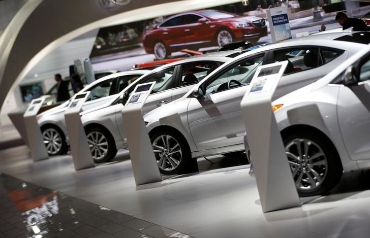 FILE PHOTO - Hyundai vehicles are lined up in the company's presentation area during the North American International Auto Show in Detroit