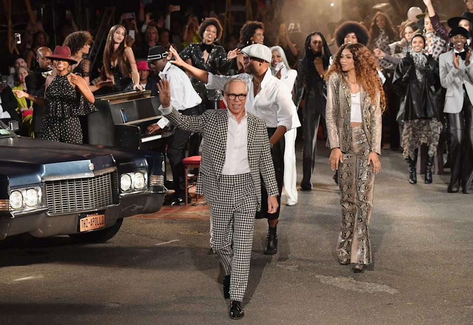 Designer Tommy Hilfiger and actress Zendaya walk the runway at the Tommy Hilfiger TommyNow fall runway show at the Apollo Theater on September 8, 2019 in New York City. (Photo by Angela Weiss / AFP) (Photo credit should read ANGELA WEISS/AFP via Getty Images)