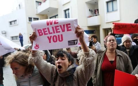 <span>Activists take part in a demonstration, after a British woman was found guilty of faking a rape claim, outside the Famagusta courthouse in Paralimni</span> <span>Credit: Reuters </span>