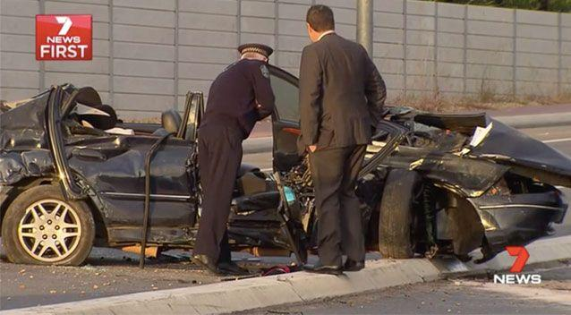 The stolen Ford crashed into a concrete divide. Source: 7 News